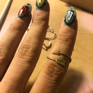 lot of 6 midi rings feather heart arrow infinity